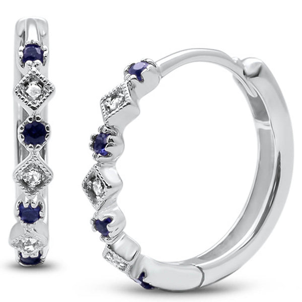 .16ct G SI 14k White Gold Diamond & Blue Sapphire Hoop Huggie Earrings