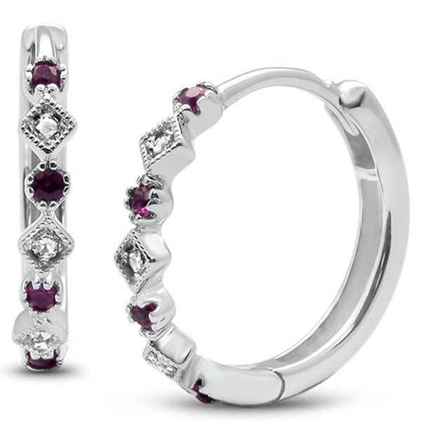 .18ct G SI 14k White Gold Diamond & Ruby Hoop Huggie Antique Style Earrings