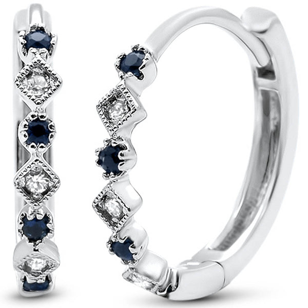.16ct G SI 14k White Gold Diamond & Blue Sapphire Hoop Huggie Antique Earrings