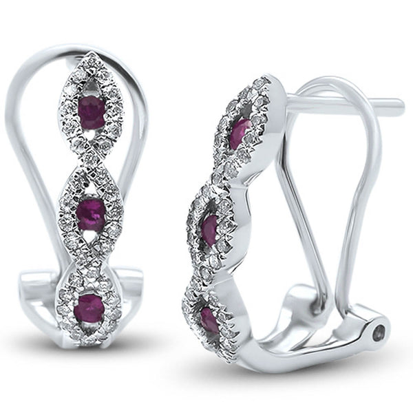 .46ct G SI 14k White Gold Diamond & Ruby Antique Style Elegant Earrings