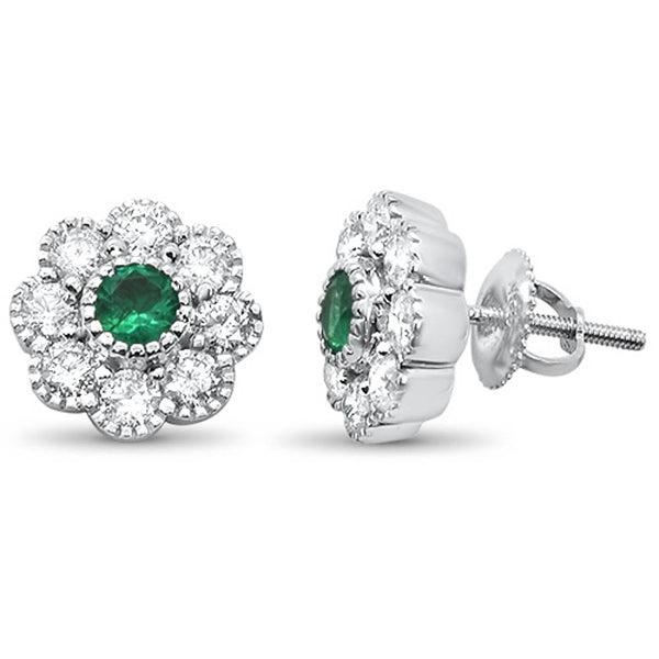 1.48ct G SI 14k White Gold Green Emerald & Diamond Flower Earrings