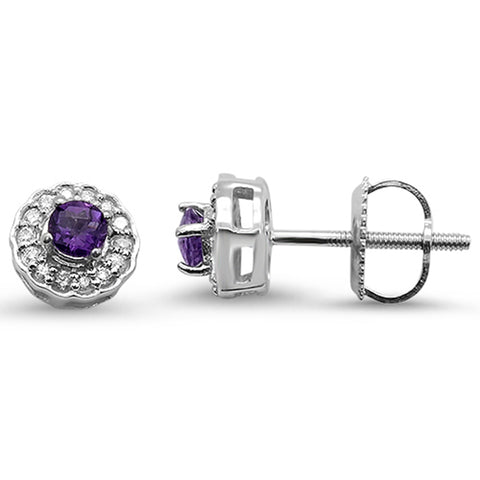 .28cts F SI 10k White Gold Round Amethyst & Diamond Earrings