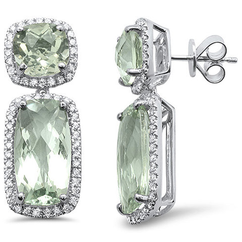 13.54cts F SI 10k White Gold Cushion Green Amethyst & Diamond Earrings