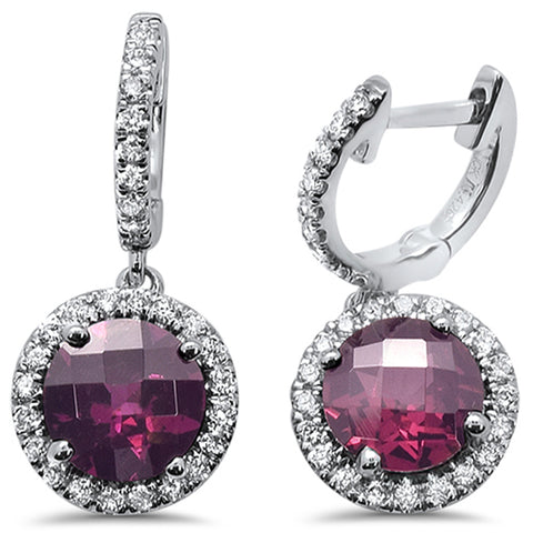 3.27cts F SI 10k White Gold Round Rhodolite & Diamond Earrings
