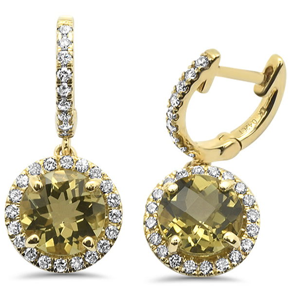 2.75cts F SI 10k Yellow Gold Round Olive  & Diamond Earrings