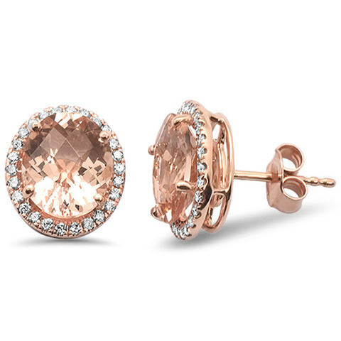 4.74cts F SI 10k Rose Gold Oval Morganite & Diamond Earrings