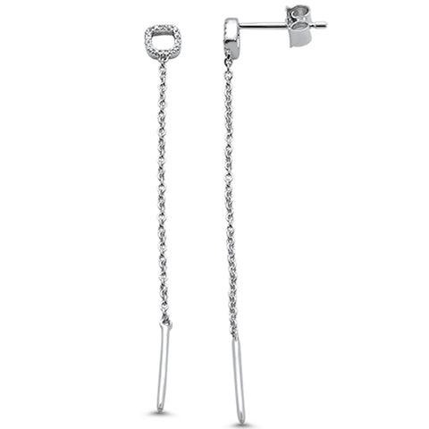 .07ct F SI 14k White Gold Diamond Drop Chain Dangle Modern Earrings