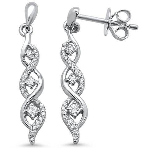 .14ct F SI 14k White Gold Infinity Drop Dangle Diamond Earrings
