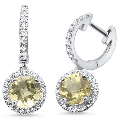 1.64ct F SI 10k White Gold Lemon Topaz & Diamond Earrings