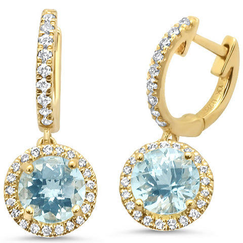 1.81ct F SI 10k Yellow Gold Aquamarine & Diamond Earrings
