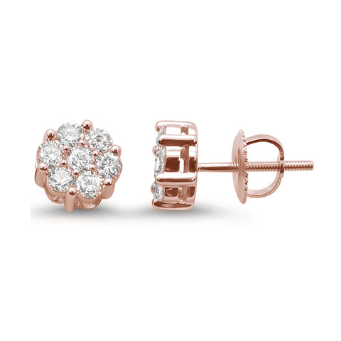 .73ct F SI 14k Rose Gold Round Diamond Cluster Stud Earrings