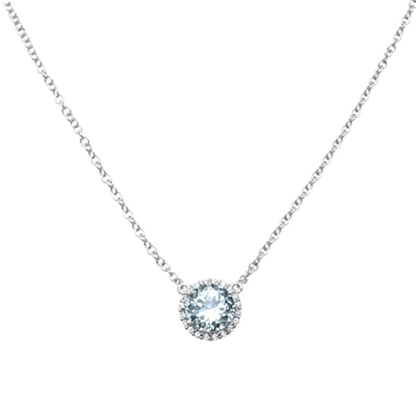 1.12ct F SI 14kt White Gold Diamond & Aquamarine Solitaire Pendant Necklace 18