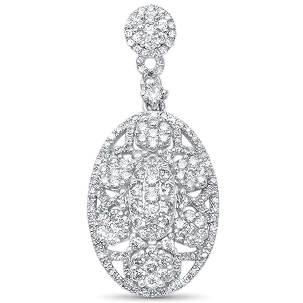 .82ct F SI 14kt White Gold Antique Reproduction Diamond Pendant 1.25
