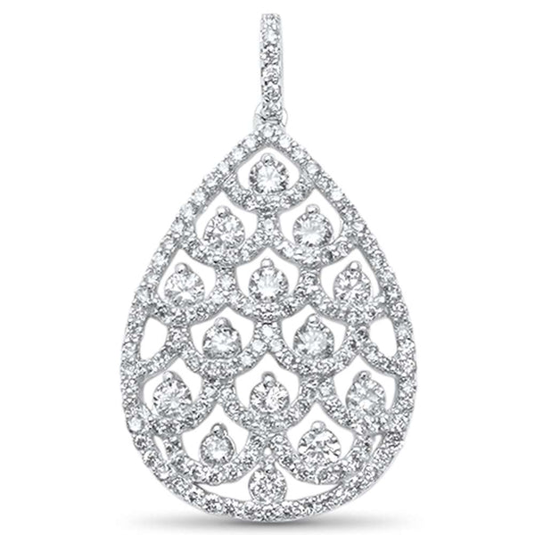 1.38ct F SI 14kt White Gold Tear Drop Shape Diamond Pendant 1.25