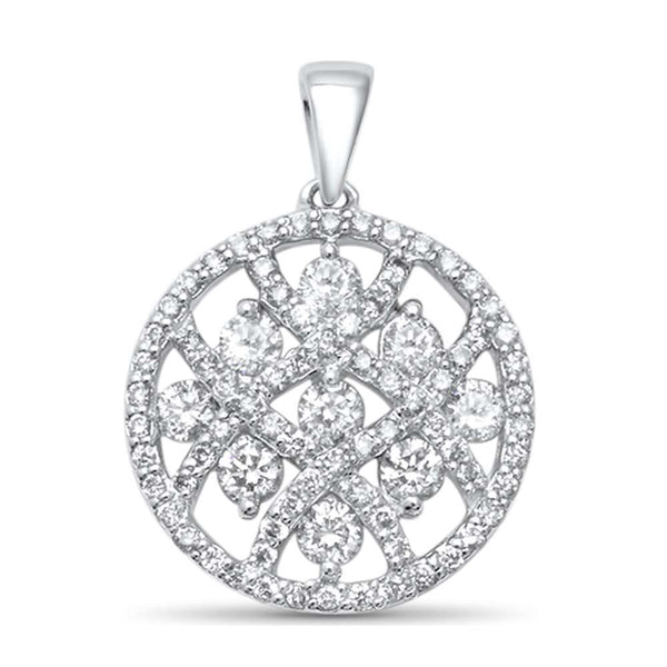 .73ct F SI 14kt White Gold Round Diamond Pendant .75