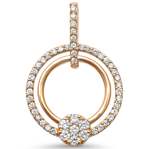 .43ct F SI 14kt Rose Gold Diamond Open Circle Modern Pendant 1