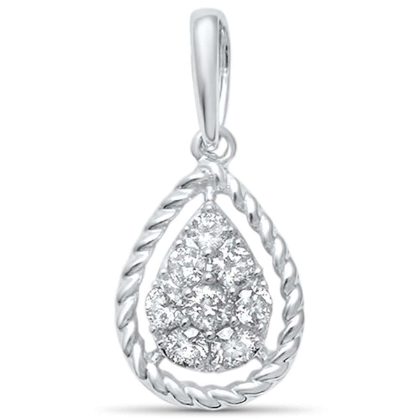 .21ct F SI 14kt White Gold Diamond Pear Shaped Pendant .62