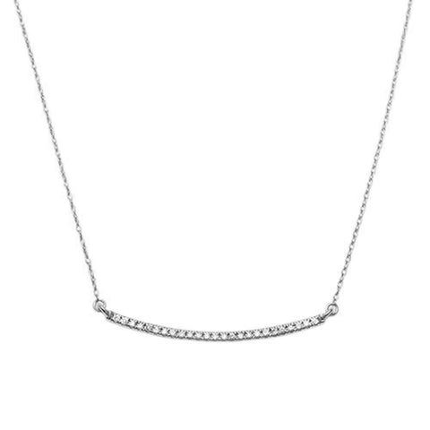 .14ct F SI 14K White Gold Diamond Bar Pendant Necklace 18