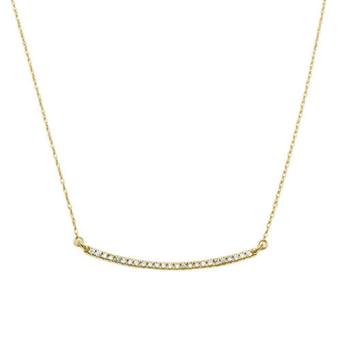 .14ct F SI 14K Yellow Gold Diamond Bar Pendant Necklace 18