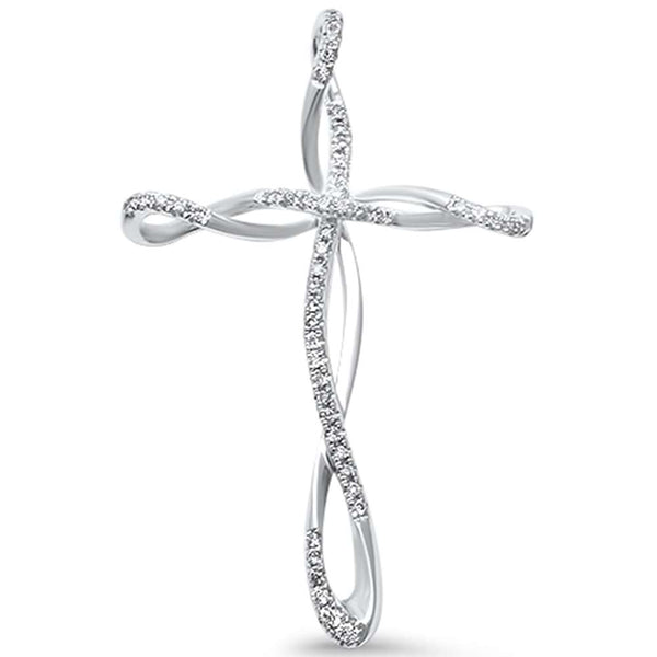 .11ct F SI 14kt White Gold Elegant Infinity Diamond Cross Pendant 1.25
