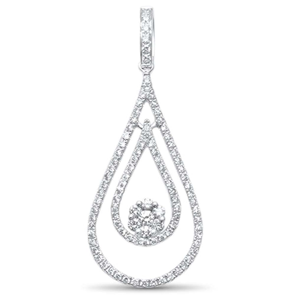 .68ct F SI 14kt White Gold Tear Drop Floating Diamond Pendant 1.5