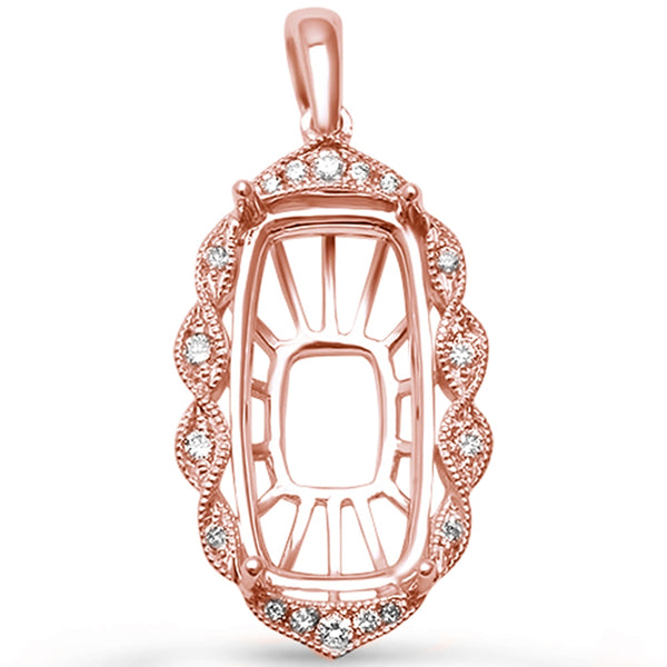 .13ct F SI 14kt Rose Gold Diamond Pendant Mounting 1