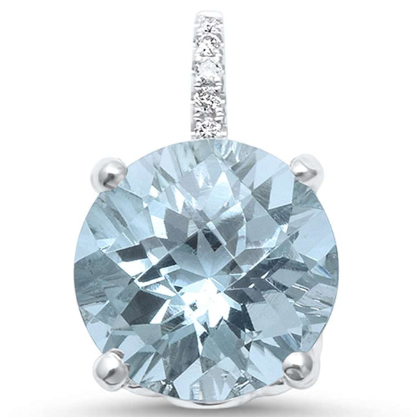 2.64ct F SI 14kt White Gold Natural Aquamarine & Diamond Pendant .5