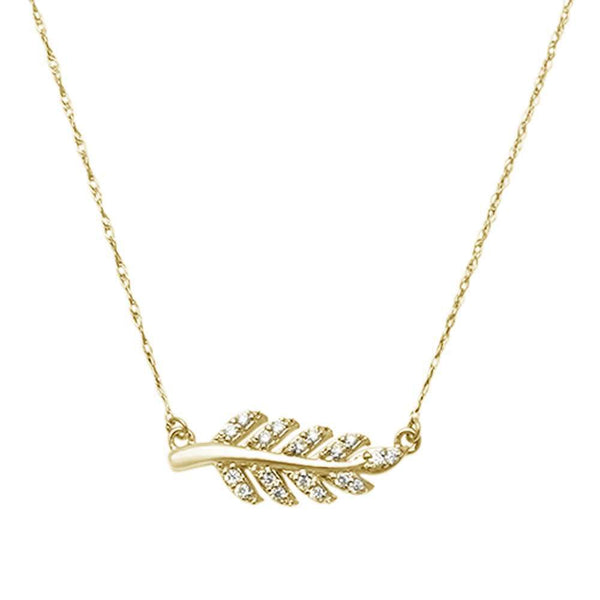 .11ct F VS2 14kt Yellow Gold Diamond Olive Branch Leaf Pendant 18