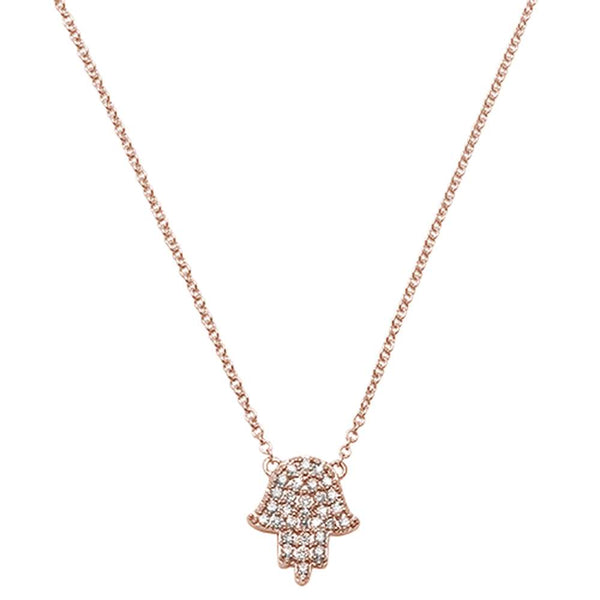 .11ct F VS2 14kt Rose Gold Trendy Hand of Hamsa Chai Necklace 18