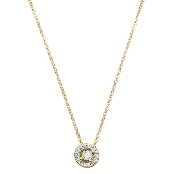 .09ct F VS2 14kt Yellow Gold Round Diamond Solitaire Halo Pendant 18
