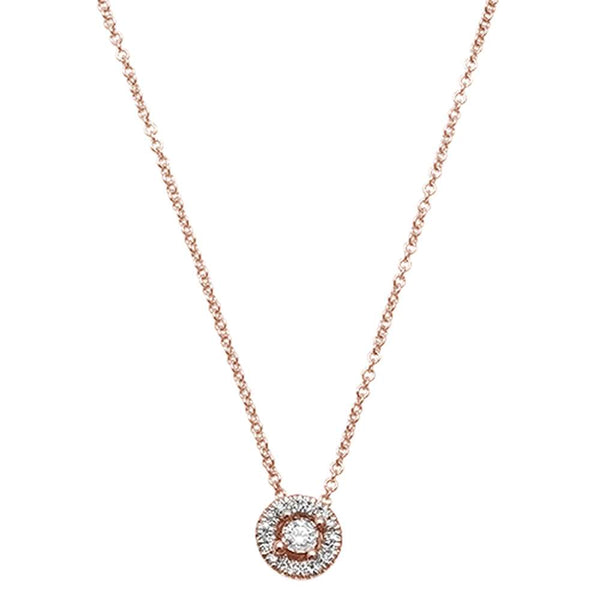 .08ct F VS2 14kt Rose Gold Round Diamond Solitaire Drop Pendant 18