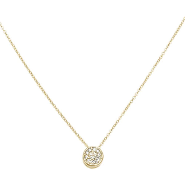 .08ct F VS2 14kt Yellow Gold Round Diamond Drop Solitaire Pendant 18
