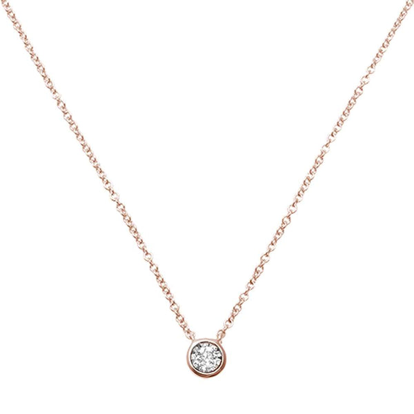 .07ct F VS 14kt Rose Gold Gold Round Bezel Diamond Solitaire Pendant 18 Necklace
