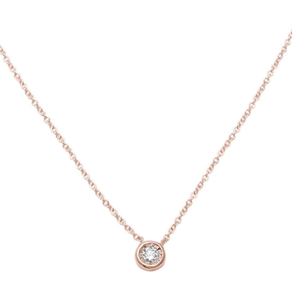.06ct F VS2 14kt Rose Gold Bezel Solitaire Round Diamond Pendant 18