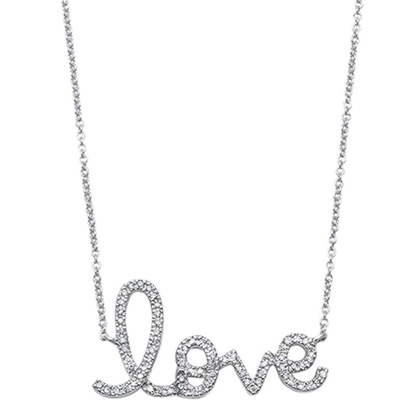 .15ct F VS2 14kt White Gold Diamond Love Script Pendant 18