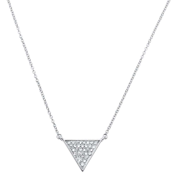 .14ct F VS2 14kt White Gold Triangle Trendy Diamond Pendant 18