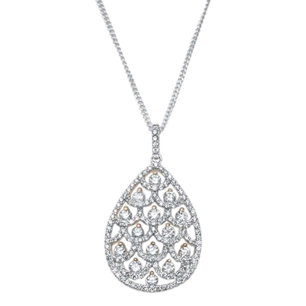 1.38ct F VS2 14kt White Gold w Rose Accent Pear Tear Drop Diamond Necklace 18
