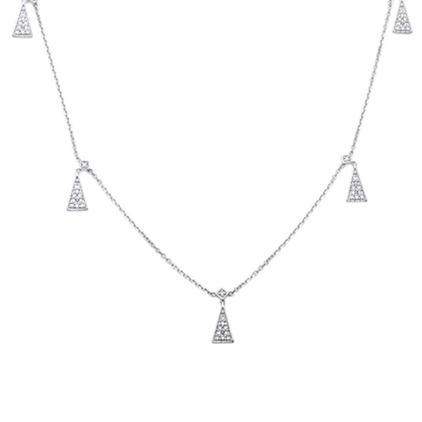 .18ct F VS2 14kt White Gold Trendy Triangle Round Diamond Pendant 18