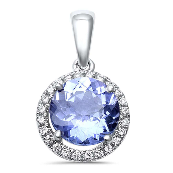 1.22ct F VS2 Round Genuine Tanzanite & Halo Diamond Pendant