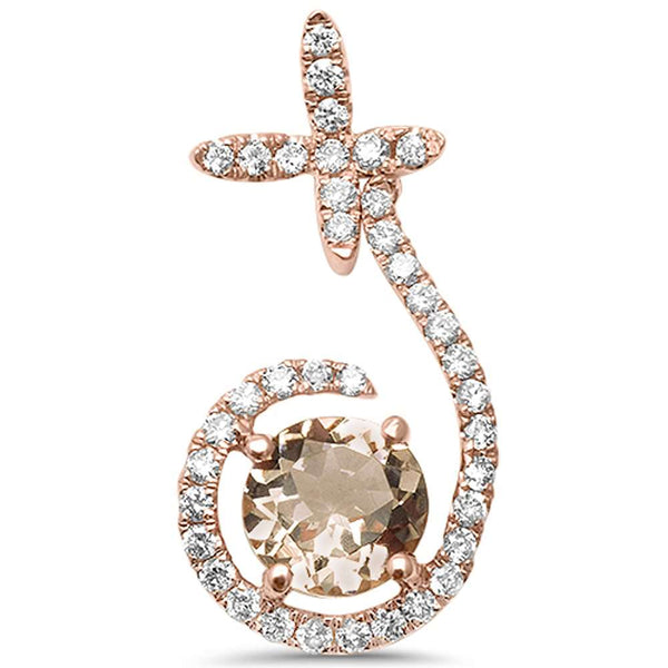 .99ct F VS2 14kt Rose Gold Round Genuine Morganite Diamond Modern Drop Pendant
