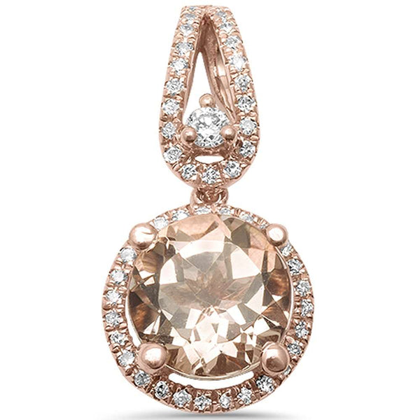1.45ct F VS2 14kt Rose Gold Round Genuine Morganite Diamond Halo Drop Pendant