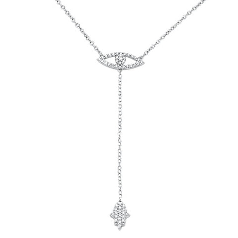 .22cts G SI 14kt White Gold Round Diamond Evil Eye Chai Lariat Necklace 18