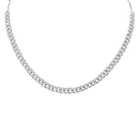 1.44ct G SI 14k White Gold Diamond Curb Link Statement Choker Necklace 14