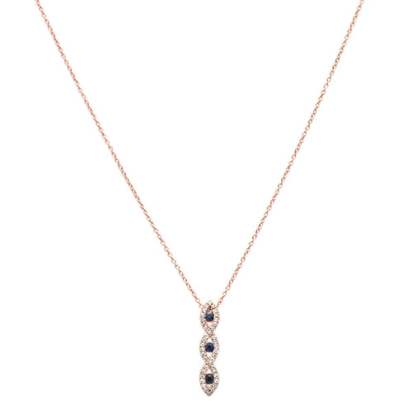 .28ct G SI 14k Rose Gold Diamond & Blue Sapphire Pendant Necklace 17