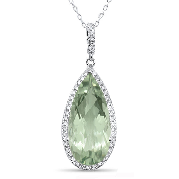 7.38cts F SI 10k White Gold Pear Shape Green Amethyst & Diamond Pendant 18
