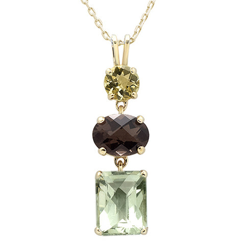 3.66ct F SI 10k Yellow Gold Oval Smoky Topaz, Amethyst Olive Diamond Pendant 18
