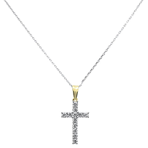 1.05ct F SI 10K Yellow Gold Large Round Diamond Cross Pendant Necklace 18