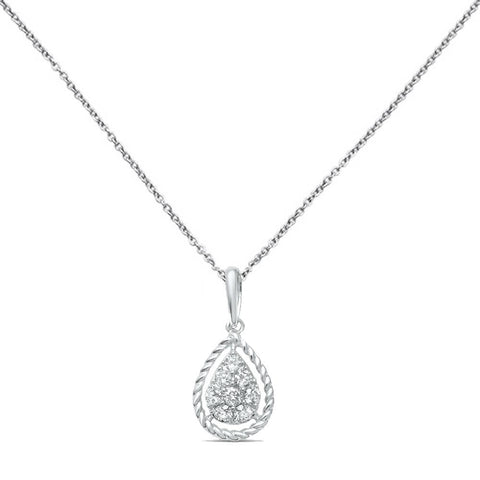 .21ct F SI 10K White Gold Diamond Teardrop Pear Shape Drop Pendant Necklace 18