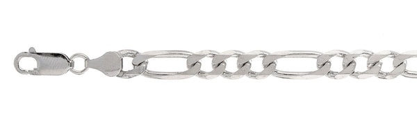 180 7MM Figaro Chain .925  Solid Sterling Silver Sizes 18-36
