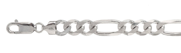 220 9MM Figaro Chain .925  Solid Sterling Silver Sizes 8-36